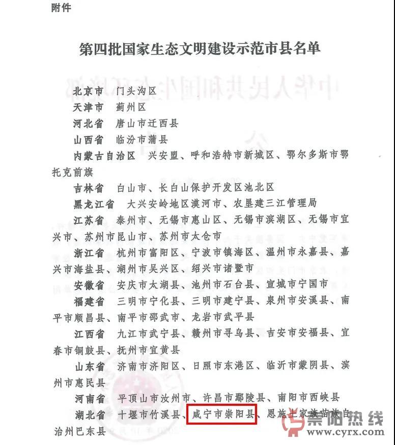 崇阳入选第四批国家生态文明建设示范县