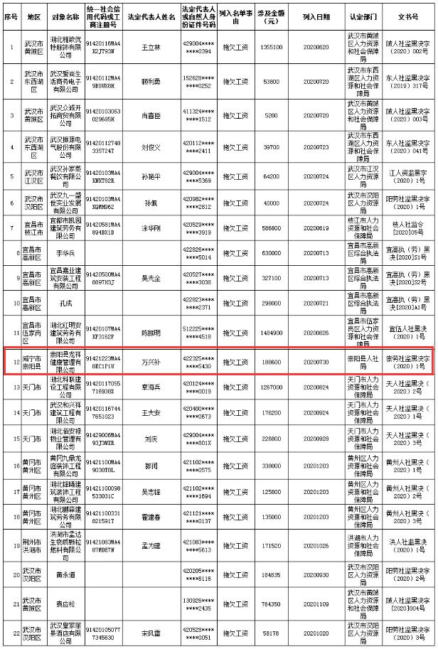 """188600元,崇阳一公司被省人社厅列入""""黑名单"""""""